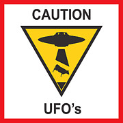 Stencil Digital Art Posters - Caution ufos Poster by Pixel Chimp