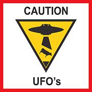Caution Ufos Print by Pixel Chimp