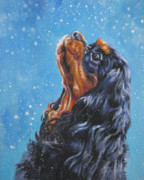 Spaniel Puppy Paintings - Cavalier King Charles Spaniel black and tan in snow by Lee Ann Shepard