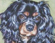 L.a.shepard Art - Cavalier King Charles Spaniel black and tan by Lee Ann Shepard
