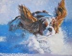 Puppy Paintings - Cavalier King Charles Spaniel blenheim in snow by L A Shepard