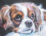 Spaniel Puppy Paintings - Cavalier King Charles Spaniel blenheim by Lee Ann Shepard