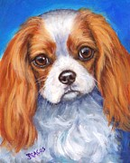 Spaniels Paintings - Cavalier King Charles Spaniel Blenheim on Blue by Dottie Dracos