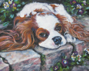 Spaniel Puppy Paintings - Cavalier King Charles Spaniel in the pansies  by Lee Ann Shepard