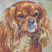 Spaniel Puppy Paintings - Cavalier King Charles Spaniel ruby by Lee Ann Shepard
