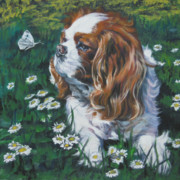 Spaniel Puppy Paintings - Cavalier King Charles Spaniel with butterfly by Lee Ann Shepard
