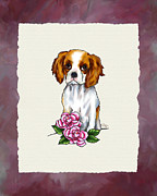 Doodles Prints - Cavalier King Charles Spaniel with Pink Roses Print by Jai Johnson