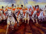 Artillery Mixed Media Posters - Cavalry charge Poster by George Ganciu