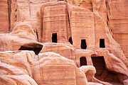 Archeology Prints - Cave dwellings Petra. Print by Jane Rix