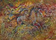 Cartoons Paintings - Cave Horses by Suzanne Shepherd