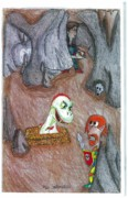 Dinosaur Drawings Originals - Cave by Jayson Halberstadt