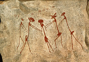 Abduction Photos - Cave Painting: Kolo Figures Depicting An Abduction by Sinclair Stammers