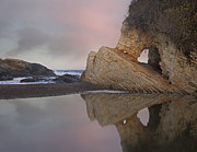 State Of Montana Prints - Cave Reflected In Pool At Dusk Spooners Print by Tim Fitzharris