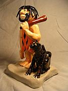 Small Statue Ceramics - Caveman and Saber tooth by Bob Dann