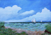 Boats In Water Paintings - Cavendish Beach by James DRYSDALE