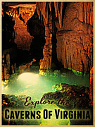 Cavern Digital Art Framed Prints - Caverns Of Virginia Framed Print by Vintage Poster Designs