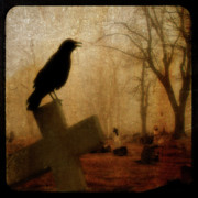 Starlings Digital Art Metal Prints - Cawing Night Crow Metal Print by Gothicolors And Crows