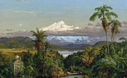 Mountain Snow Landscape Paintings - Cayambe by Frederic Edwin Church