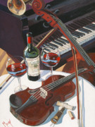 Red Wine Painting Posters - Caymus Break Poster by Christopher Mize