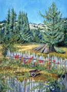 Family Farm Painting Prints - Cazadero Farm and Flowers Print by Asha Carolyn Young