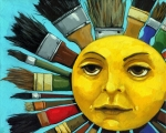 Still Life Painting Posters - CBS Sunday Morning Sun Art Poster by Linda Apple