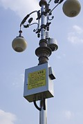 Lamp Post Framed Prints - Cctv Camera On Lamp Post, Daejeon Framed Print by Mark Williamson