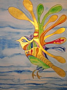 Trippy Paintings - Cecilia the Psychedelic Seabird by Erika Swartzkopf