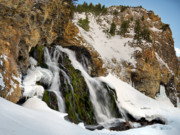 Lost River Mountains Photos - Cedar Creek Falls Winter by Leland Howard