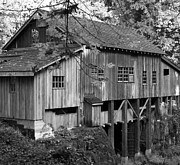 Old Mills Framed Prints - Cedar Creek Grist Mill BW 2 Framed Print by Chalet Roome-Rigdon