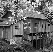 Old Mills Framed Prints - Cedar Creek Grist Mill BW Framed Print by Chalet Roome-Rigdon