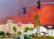 Red Sky Paintings - Cedar Fire San Diego 2003 by Mary Helmreich