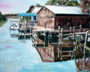 Cedar Key Framed Prints - Cedar Key Reflections 2 Framed Print by Greg Morris