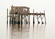 Wooden Prints - Cedar Key Structure Print by Patrick M Lynch