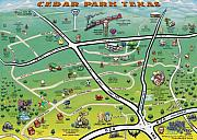 Cedar Park Texas Cartoon Map Print by Kevin Middleton