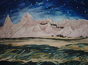 Badlands Painting Originals - Cedar Pass by Starlight by Estephy Sabin Figueroa