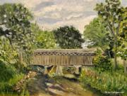 Covered Bridge Painting Metal Prints - Cedarburg Covered Bridge Metal Print by Calliope Thomas