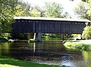 Cedarburg Prints - Cedarburg WI Last Covered Bridge  Print by Carol Komassa