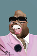 Cee Framed Prints - Cee Lo Green Caricature Framed Print by Jonathan Pierce