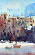 Sicily Mixed Media Prints - Cefalu 2 Print by Andre MEHU