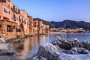 Italian Sunset Posters - Cefalu Harbour, Sicily, Italy Poster by Slow Images