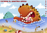 Monster Digital Art - Ceferino el monstruo marino by Javier Bernardino