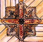 Churches Drawings - Ceiling of First Presbyterian Church Greenfield Iowa by Elizabeth Briggs