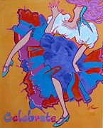 Dancing Girl Paintings - Celebrate by Adele Bower