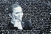 Barack Obama Painting Framed Prints - Celebrate Change Framed Print by Welder Ramiro Vasquez