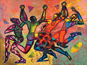 African Art Paintings - Celebrate Freedom by Larry Poncho Brown