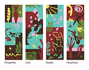Heart Healthy Painting Posters - Celebrate Life 4 panels Poster by Xueling Zou