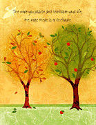 Apple Tree Drawings Metal Prints - Celebrate Life Metal Print by Elizabeth Coats