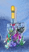 Champagne Glasses Photos - Celebrate Sketchy by Lynda Dawson-Youngclaus