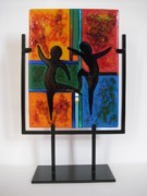 Figures Glass Art Metal Prints - Celebrate The Possibilities Metal Print by Mark Lubich