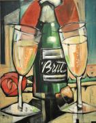 Champagne Glasses Painting Framed Prints - Celebrate With Bubbly Framed Print by Tim Nyberg